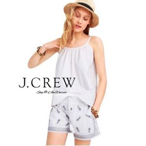 J. Crew NWT embroidered pineapple gauzy shorts
